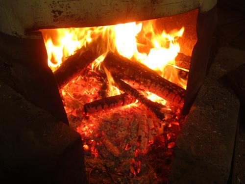 薪ストーブで燃える剪定もや.13.01.17.
